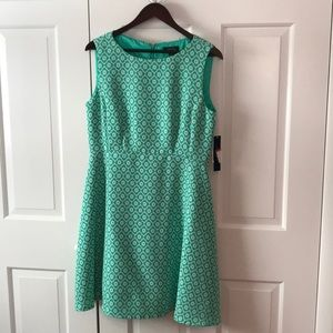 Teal or Turquoise Patterned Tahari Dress